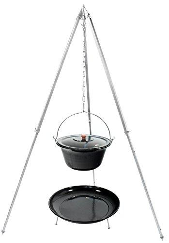 Grillplanet Gulaschkessel 15 Liter emailliert, Teleskopgestell 160 extra stark verzinkt Deckel Feuerstelle