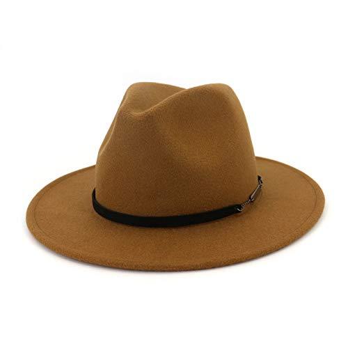 LUOXUEFEI Gorras Sombrero De Hombre Sombreros Marrones Negros para Mujer Gorra De Bombín De ala Ancha De Primavera Otoño con Cinturón