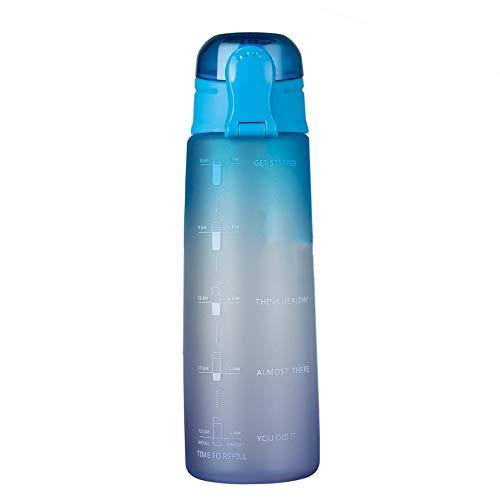 BOINN Botella de Agua para Fitness de 32 Oz con Marcador de Tiempo Jarra de Agua de Gran Capacidad Sin BPA para Gimnasio Trabajo de Oficina Al Aire Libre Degradado- Azul