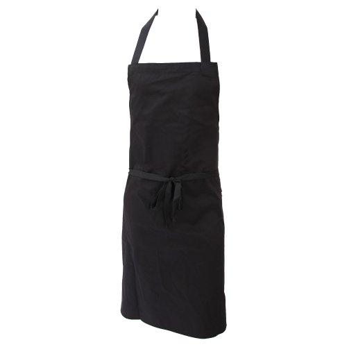 Dennys Unisex Küchenschürze ohne Taschen, reich an Baumwolle (Einheitsgröße) (Schwarz)