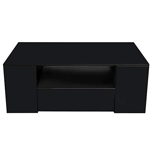 Cikonielf Mesa de café moderna rectangular de 2 pisos de alto brillo, mesa de almacenamiento con estante lateral para muebles de salón, oficina, 95 x 55 x 37 cm (negro)
