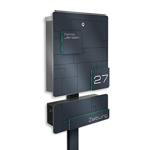 Metzler Massiver Standbriefkasten Edelstahl - Anthrazit RAL 7016 - inkl. Briefkasten-Ständer - mit Gravur - rostfrei (mit Zeitungsfach & Briefkastenständer) - Größe: 33 x 38,5 x 11 cm