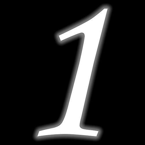 Leuchtziffer - Selbstklebende Hausnummer - 1 - leuchtend, 10 cm hoch - Kleben statt Bohren, nachleuchtend Aufkleber, Ziffer, Zahlen - Leuchtfolie