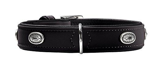 HUNTER SOFTIE STONE Hundehalsband, Kunstleder, mit Applikationen, pflegeleicht, 55 (M-L), schwarz