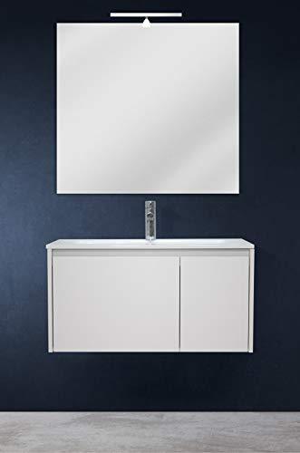 OrionShop Mobile Bagno Sospeso Leda da 80cm Bianco Opaco con Lavabo Specchio e Lampada LED Inclusi