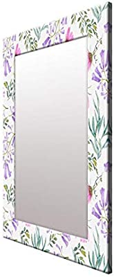 999Store Printed Multi Leaves Flower Pattern Mirror