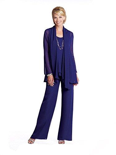 Dressvip, tuta blu scuro in 3 pezzi, in chiffon, abito per madre della sposa con pantaloni Dark Blue 56