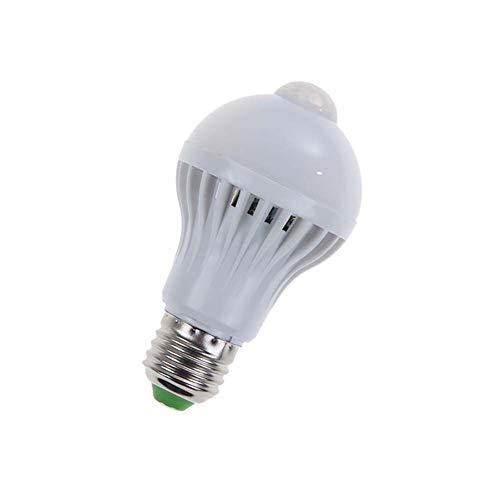 AimdonR Bewegungsmelder-Glühlampe, 3W / 5W / 7W / 9W E27 Smart-PIR-Sensor-LED-Glühlampen, automatische LED-Glühlampe 30s geschlossen für Außen/Innen (kaltweiß)