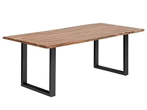 Woodkings Esstisch Bullwer Holz Akazie, Metallfuß, Tisch mit Baumkante, Baumtisch, Baumkantentisch, Echtholz modern, Design, Massivholz, Küchentisch, Esszimmermöbel, Wohnmöbel (230 x 100 cm, schwarz)