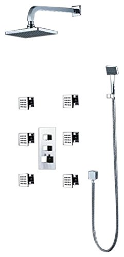 Best Prices! Fontana 8 inch Chrome Shower System Set With Body Sprays and Hand Held Shower