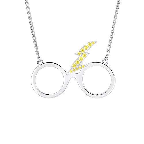 FJ Collar de cristal con perno, collar de plata de ley, topacio amarillo creado