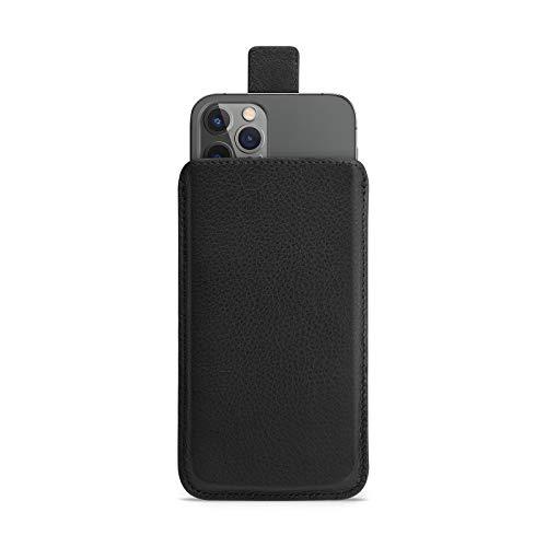 WIIUKA Hülle für iPhone 12 / 12 Pro, Lederhülle extra schlank mit Verschluss, Premium Leder, Design Handyhülle Tasche Schwarz