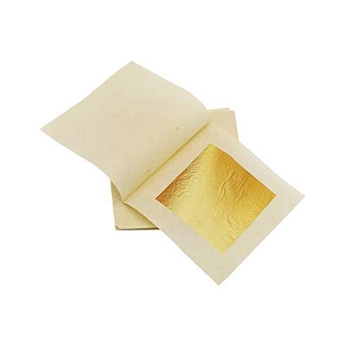 KIRIN Foglia d'oro Commestibile, 4.33cm x 4.33cm 50 Pezzi di Foglie d'oro Puro 24K, Edible Gold Leaf Sheets per Cucina,Torte e Cioccolatini, Decorazione, Maschera per la Salute e la Spa.