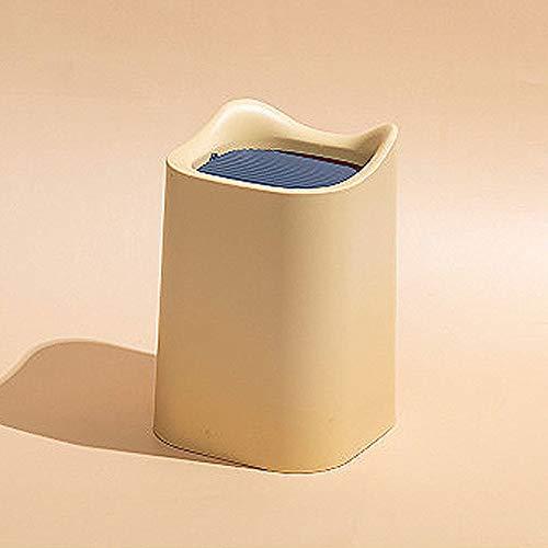 Poubelle Bureau Wastebasket poubelle, plastique Petit bureau minuscule comptoir Boîte à ordures ménagères double couche avec cache-culbuteurs (Color : Yellow)