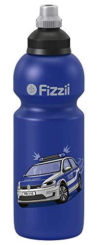 Fizzii Kinder- und Freizeittrinkflasche 600 ml (auslaufsicher bei Kohlensäure, schadstofffrei, spülmaschinenfest, Motiv: Polizei)