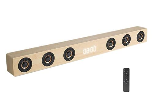 Ovegna Q1BT: Wooden TV Sound Bar, Home Theater, Wireless, HiFi, Bluetooth, 6 Speakers, 30 W Power, Stereo, HDMI, AUX, LED Clock, for SmartTV, Smartphone, PC