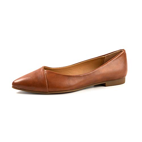 FUNKYMONKEY Women's Ballet Flats Comfort Slip On Shoes for Walking and Driving (8 M US, Brown A)