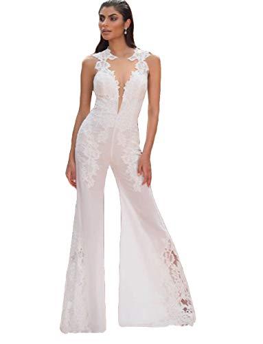 The Peachess Strandkleid, Hochzeitskleid, Damen, Jumpsuit, durchsichtiger Hals, Spitzenapplikation, Chiffon, Brautkleid - Weiß - 52
