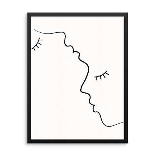 Modern Abstract Wall Decor Art Print Poster - Man and Woman Face Silhouette Outline - UNFRAMED - Minimalist Black and White Artwork for Living Room Couple's Bedroom or Bathroom (8'x10' MAN WOMAN)