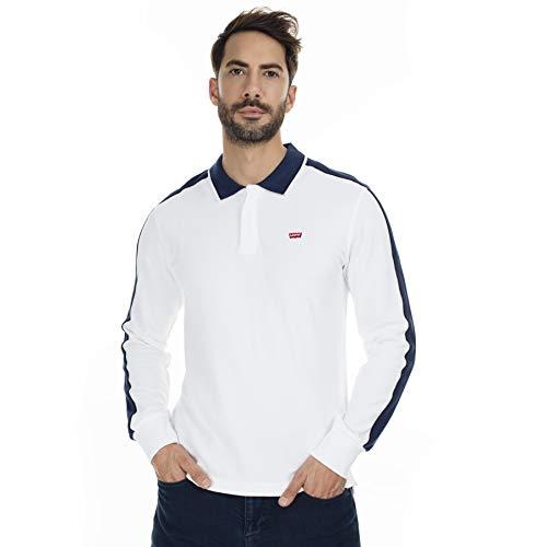 Levi's Herren-Poloshirt, langärmelig, gerippt, Weiß Gr. L, weiß