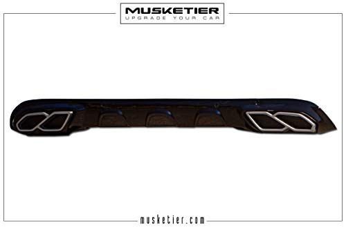 Faldón trasero Musketier con embellecedores de tubo de escape en aspecto de aluminio e inserciones negras.
