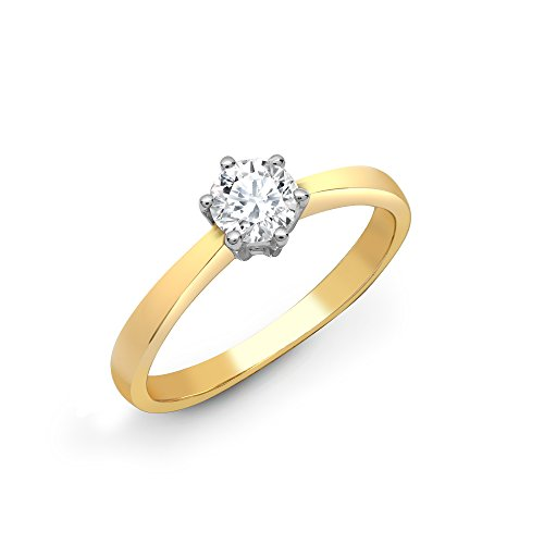 Jewelco London dames massief 18 karaat geelgoud 6 klauwen set rond SI1 0,25 ct Ct Diamant Solitaire verlovingsring 5 mm