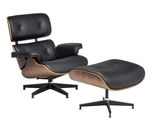 furnigo | Designer Sessel und Fußstütze, Premium Italian Leather, Reproduktion, Zeitlos, Szwarz und Weiß Farben, Reproduktion, Zeitlos (schwarz/Walnuss)