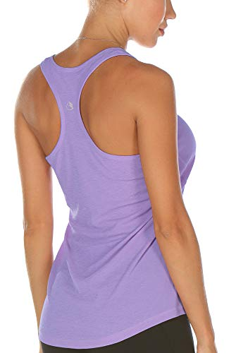 icyzone Workout Racerback Tank Tops for Women - Womens Activewear Tops, Yoga Athletic Muscle Tanks (Lavender, Large)