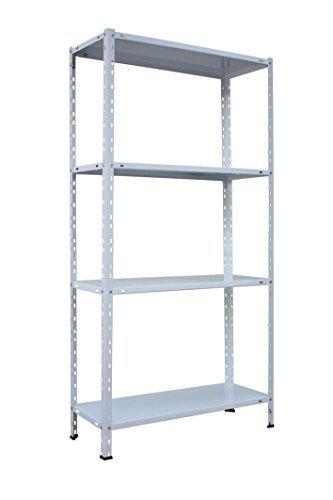 Metallregal, Schraubregal mit vier Böden. Metall, pulverbeschichtet. In Weiß mit glänzendem Oberflächenfinish. Hält 40 kg pro Boden. 75 x 30 x 150 cm