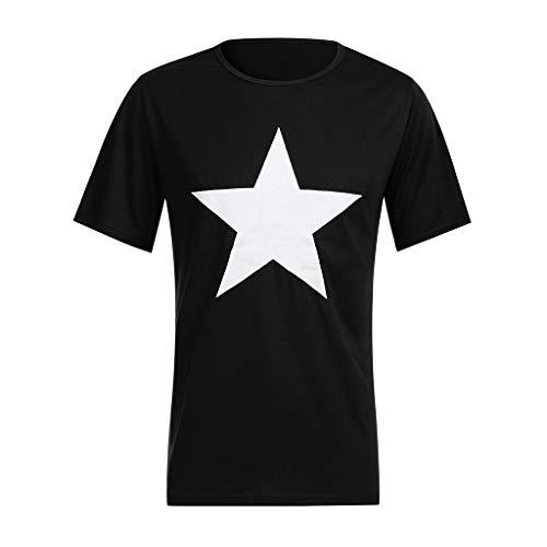 FRAUIT Spiershirt voor de lente, zomer, heren, korte mouwen, Oangzetting, top, blouse T-shirts, pentagram, bedrukt met ronde hals, met ronde hals, uit het Westen van de VS
