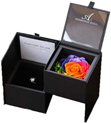 Arc-en-Ciels 七色の薔薇 アルコイリス?セブンラック プリザーブドフラワー 天然ダイヤモンドラメ リングケース