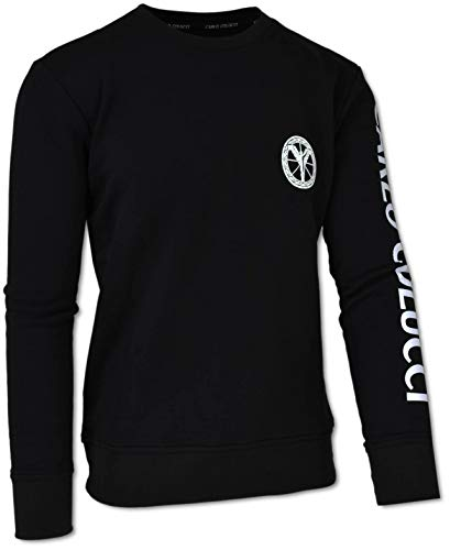 Carlo Colucci Herren Sweatshirt aus Baumwollfleece, Schwarz Schwarz L