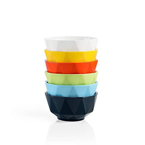 SWEEJAR Porcelain Small Bowl Set 10 Oz Geometric Design Dessert Bowls for Creme Brulee, Ice Cream, Souffle, Mug Cake, Snack, Stack Well for Kitchen Counter - Set of 6(Multi)