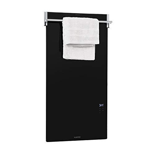 Klarstein Hot Spot Crystal Spotless Smart Infrarotheizung Elektroheizung Heizstrahler, 59 x 112 cm, 750W, IR ComfortHeat, WiFi: App-Steuerung, Wandinstallation, ausklappbare Handtuchstange, schwarz