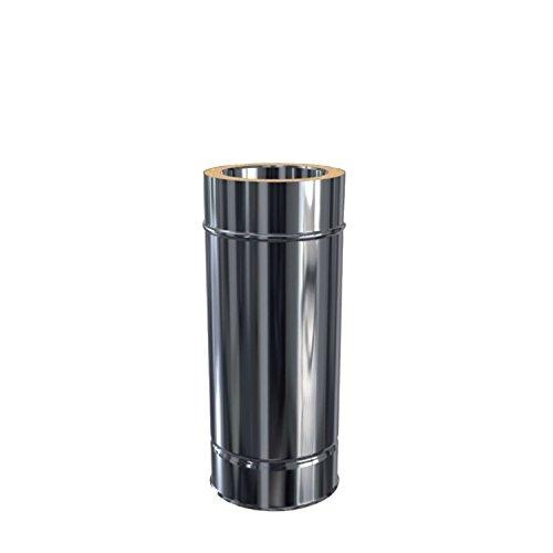 Edelstahlschornstein Längenelement 500 mm DW 120 doppelwandig inkl. Klemmband