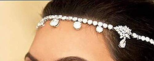 Chargances Bohemia Crystal Head Chain Crystal Headband Delicate Hair Accessories Decorative Forehead Headpiece Boho Headpiece Bohemia Hair Jewelry Chain Festival Headpiece Gift for Women and Girls (Accessories Decorative Chain)
