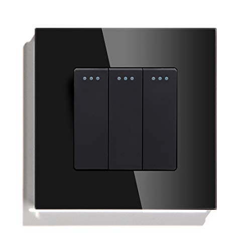QXYOGO Interruptor Pared 3 Gang 1 Way 2 Way Button Button Interruptor estándar Interruptor de casa Negro Blanco Dorado con Cristal de Cristal Panel para el hogar 1 (Color : Black, Size : 2Way)