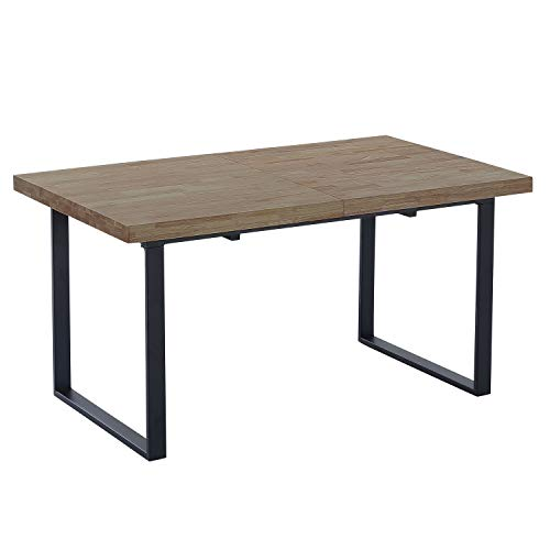 Adec Group Natural, Mesa de Comedor Extensible, Mesa de Salon o Cocina, Color Roble Boreal y Patas Negro, Medidas: 140/180 cm (Largo) x 80 cm (Ancho) x 76 cm (Alto)