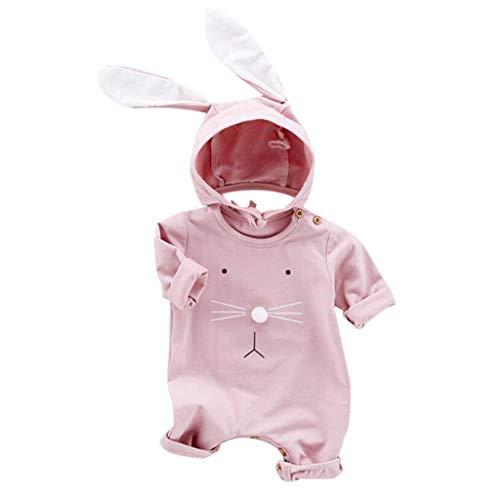 MAYOGO Ropa Otoño Niña Monos Manga Largo Mameluco y Sombrero para Niña Bebe Conejo Lindo Disfraz Bodis Niña Ropa Bebe Animales de niña 6 Meses, 0-2 Años, 2 Piezas
