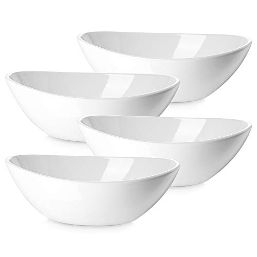 "DOWAN 9"" Porcelain Serving Bowls, Large Serving Dishes, 36 Ounce for Salads, Side Dishes, Pasta, Oval Shape, Microwave & Dishwasher Safe, Good Size for Dinner Parties, Set of 4, White"