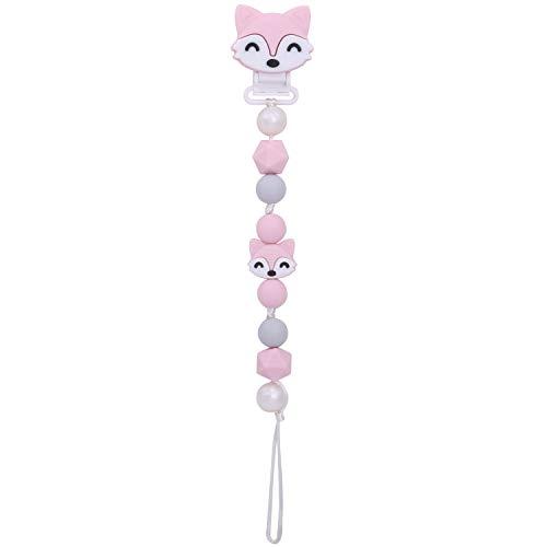 PREMYO Baby Schnullerkette Mädchen Fuchs - Silikon-Perlen Bunt Eckig mit Clip - Universal Ohne Namen - Rosa