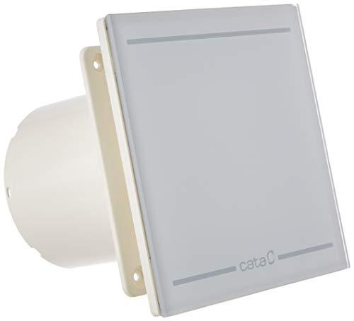 Cata | Extractor baño | Modelo E-100 GLT | Extractor de baño serie Timer | Temporizador electrónico entre 3 y 15 min | Extractor baño silencioso | Acabado en Cristal Blanco | Eficiencia energética B