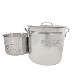 professional Bayou Classic 1124 Stainless Steel Casserole 1124 – With Basket 24 qt, 24 qt, Silver