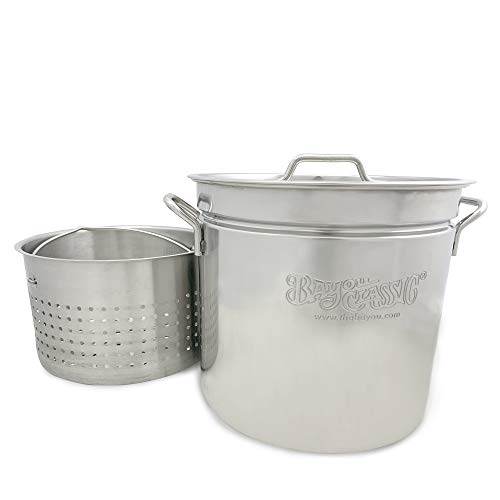 Bayou Classic 24 qt Stainless Stockpot with Steamer Basket