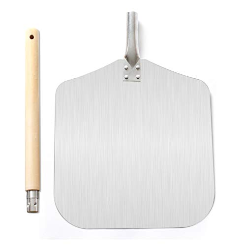 Homevibes Aluminum Pizza Peel with Wood Handle 13Inch x 12Inch Kitchen Supply for Baking Homemade Pizza Bread