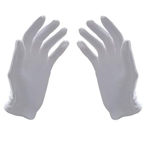Fippy 10 Paar weiße Baumwollhandschuhe 7.5 Zoll weiche leichte Arbeitshandschuhe kosmetische feuchtigkeitsspendende Handschuhe freie Größe