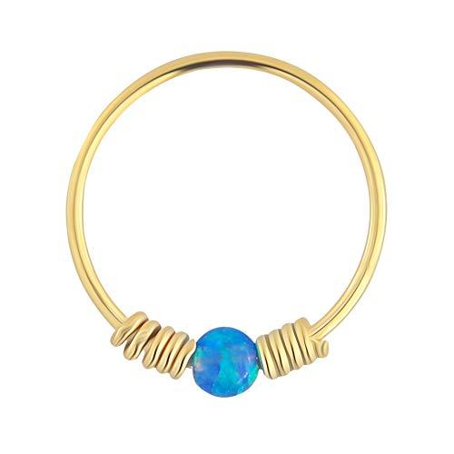9K Solid Gelb Gold blau Opal Stein mit doppelten Frühling Spule 22 Gauge Hoop Nase Ring Tragus Helix Piercing