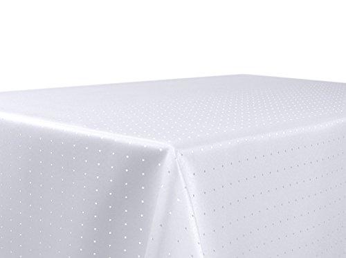 BEAUTEX Tischdecke Damast Punkte - Bügelfreies Tischtuch - Fleckabweisende, Pflegeleichte Tischwäsche - Tafeltuch, Eckig 130x220 cm, Weiss