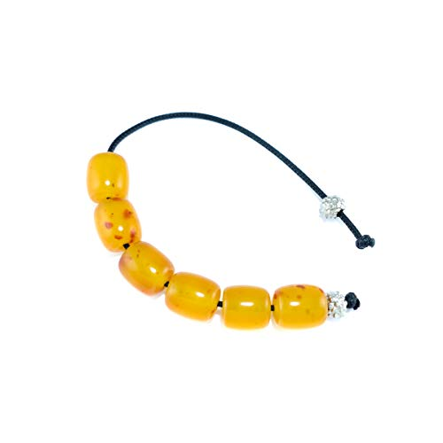 Greek Handmade Begleri with 6 Bakelite Beads with Pieces of Amber - Yellow