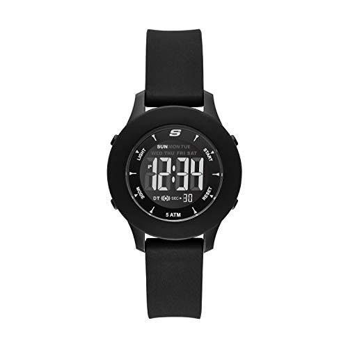 Skechers Women's Rosencrans Digi Quartz Casual Sports Silicone Nurse Digital Watch, Color: Black (Model: SR6141)